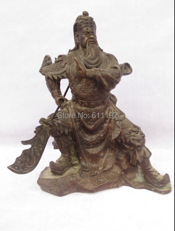 Antique Home decoration Metal crafts, Chinese folk art Broadsword Guangong sculpture,Guan Yu statue,Unique holiday gift(China (Mainland))