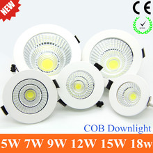 2015 Newest Dimmable LED Recessed Downlight 5W 7W  9W 12W 15W COB Chip LED Ceiling light Spot Light Lamp White/ Warm white(China (Mainland))