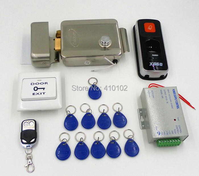 DIY Fingerprint 125KHz RFID ID Card Reader Door Access Control System Kit + Electric Door Lock + Remote Control(China (Mainland))