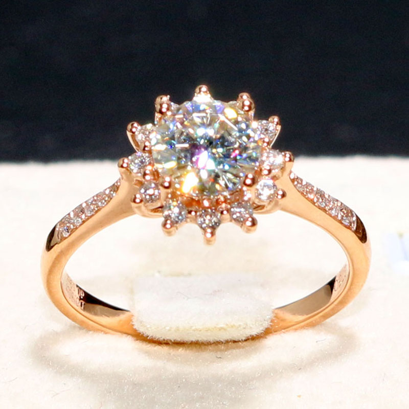 Genuine 14K 585 Yellow Gold 1 Carat ct No Less Than H Color Lab Grown Moissanite Diamond  Halo Flower Wedding Ring For Women<br>