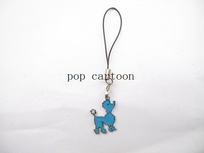 New 20 Pcs Carttoon Blue Poodle Mobile Phone Lanyard Enamel Charms Metal DIY Jewelry Making Gift D-52(China (Mainland))