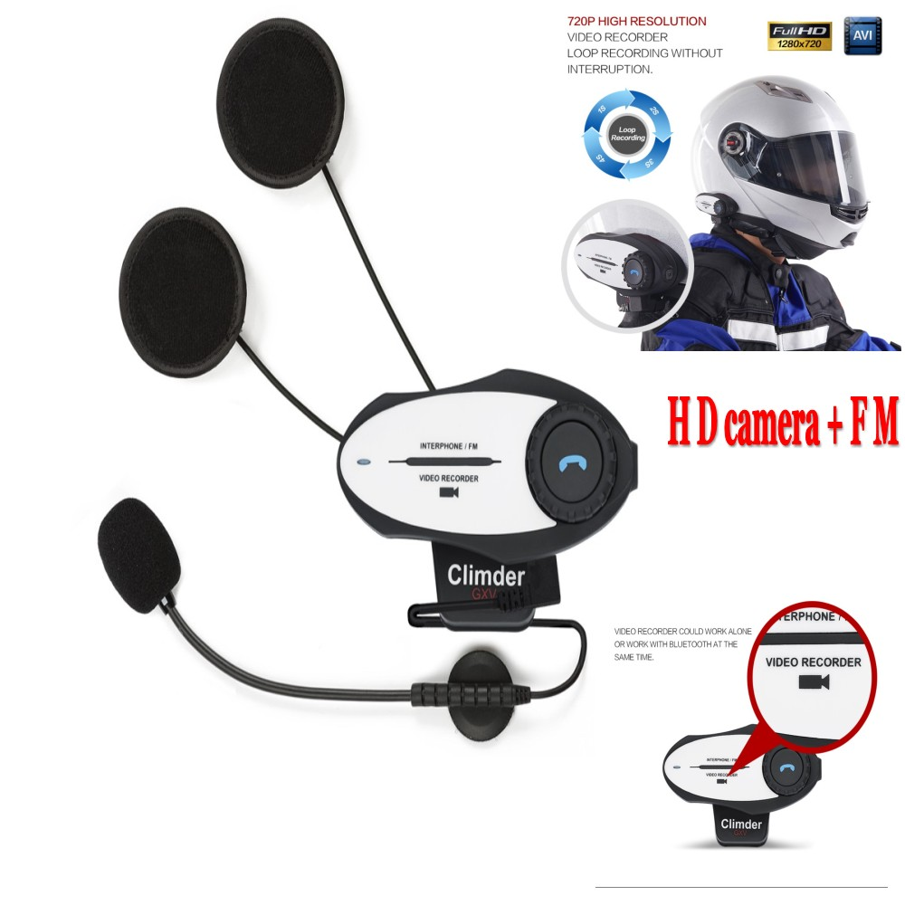 2016 HD camera New Multifunction Motorcycle Helmet Intercom Bluetooth Interphone Headset & Video Recorder & FM Function(China (Mainland))