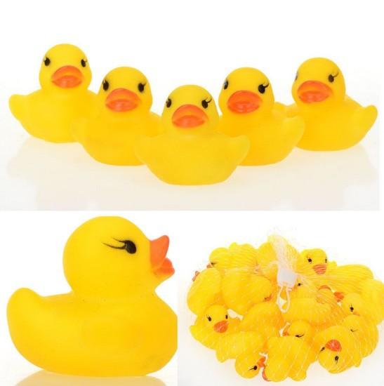 20PCS Wholesale Lots Rubber Ducks Baby Kids Children Bath Toy Bulks 4x4x4.5cm HZC001(5)*4(China (Mainland))