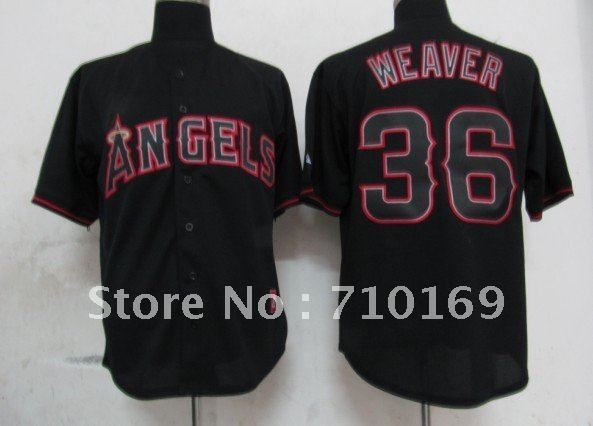 Free Shipping 2012 New Los Angeles Angels #36 WEAVER black color baseball jerseys size 48-56 mix order