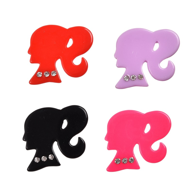 50Pcs/lot Big Ponytail Girl Shiny Resin Cabochon With Rhinestones Flatback 33x30mm DIY decoration Accessories(China (Mainland))
