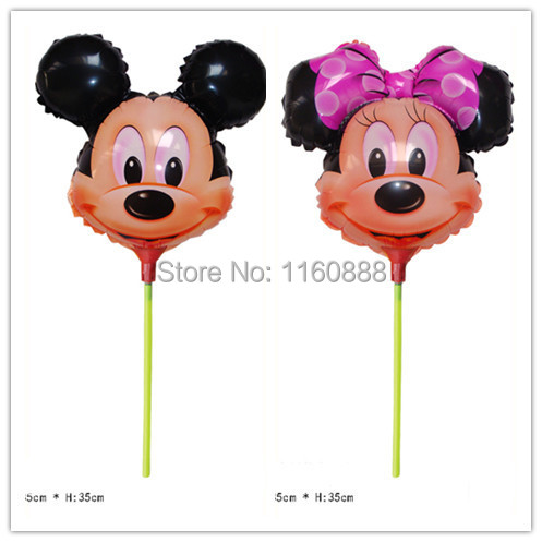 40pcs/lot minnie&mickey mouse with sticks helium balloons for birthday party decoration mylar globos Hot selling(China (Mainland))