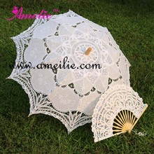 "Hot Sale 30"" White Handmade Embroidered Lace Parasol Sun Umbrella + Lace Fan Bridal Wedding Birthday Party Decoration(China (Mainland))"