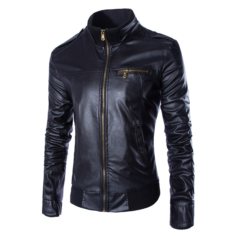 Motorcycle Men New Style Stand Collar PU Leather Jacket Men's Solid Color Slim Jackets and Coats Quality blouson cuir homme(China (Mainland))