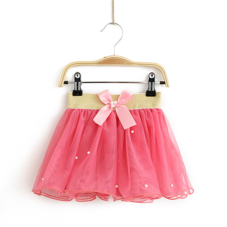 child gauze tutu pearl golden belt bowknot kids clothes girl's fashion tulle skirts baby fluffy skirt, red/apricot - funnystore store