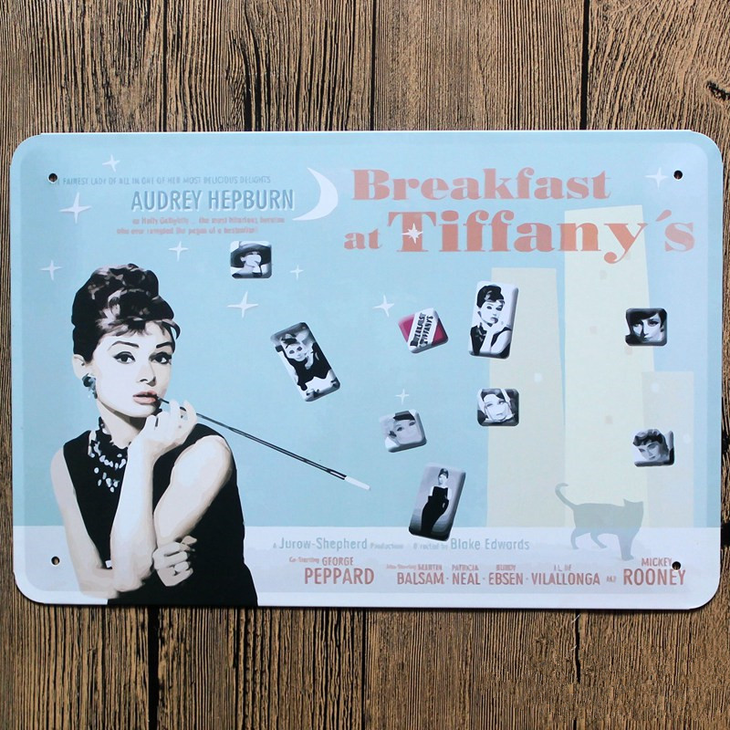 Breakfast at Tiffany's American country style metal Tin sign tinplate vintage metal painting for home bar decoration(China (Mainland))