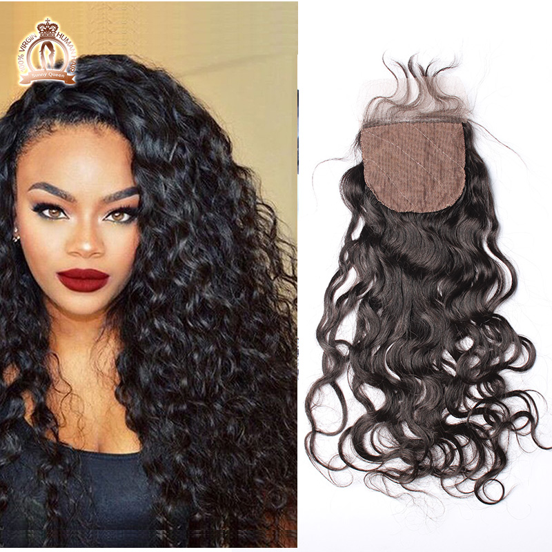 "Фотография 7A Peruvian Water Wave 4""x4"" Silk Base Closure Wet And Wave Human Virgin Hair Silk Base Lace Closure Three Parts Bleached Knots"