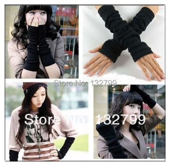 Arm Warmers Fingerless Long Glove Mittens Winter Knitted Cotton Elastic Wrist Support Cover 3 Colors