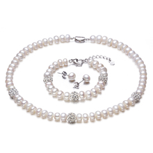 2016 New White Color Pearl necklace Sets, 8-9mm White Natural Pearl Jewelry, 925 Sterling Silver Earrings,Bracelet For Women(China (Mainland))