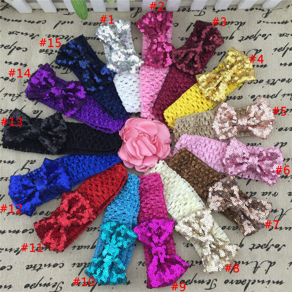 3inch Sequin Hair Bow with 1.5inch Crochet Headband Interchangeable Crochet Baby Headband Girls Sequin Bow Headwrap 15pcs/lot(China (Mainland))