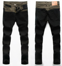 LP17 Free shipping 2016 men's fashion jeans new brand Men's pants  slim skinny jeans pencil pants patchwork jeans men(China (Mainland))