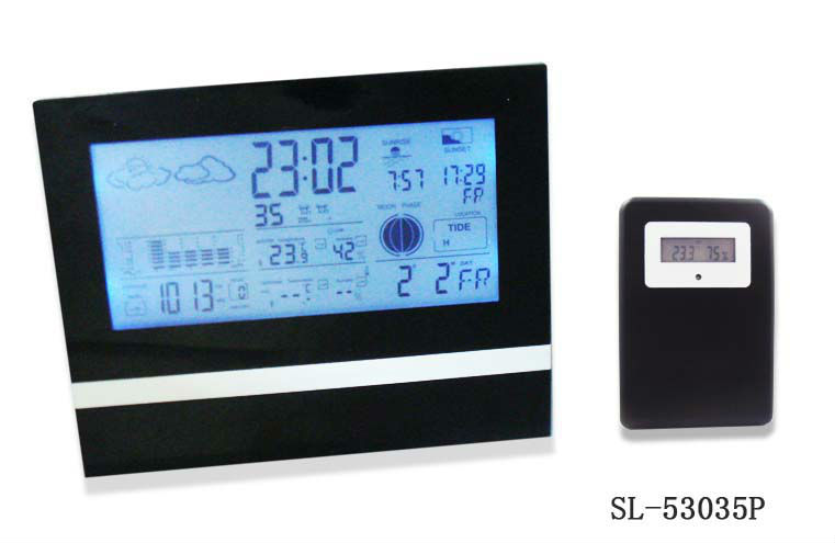 2013 hot Multifunction digital LCD desk clock with weather station and indoor outdoor thermometer Free shipping