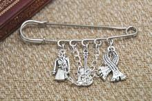 12pcs Sherlock inspired Sherlock Holmes themed charm with chain kilt pin brooch (50mm)