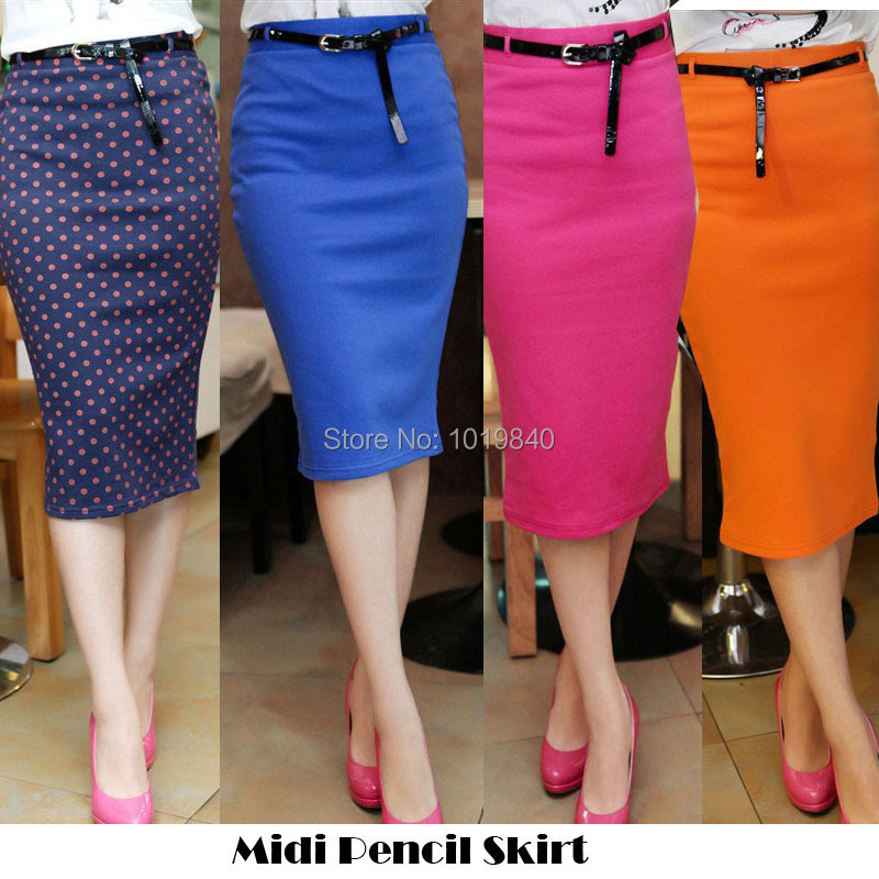 High Waisted Pencil Skirts Below The Knee - Skirts