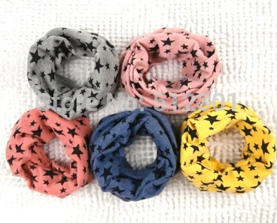 9 color Classic children's cotton scarf kids boy girl Ring Scarfs Shawl Unisex Winter knitting stars Collar Neck Warmer new 2014(China (Mainland))