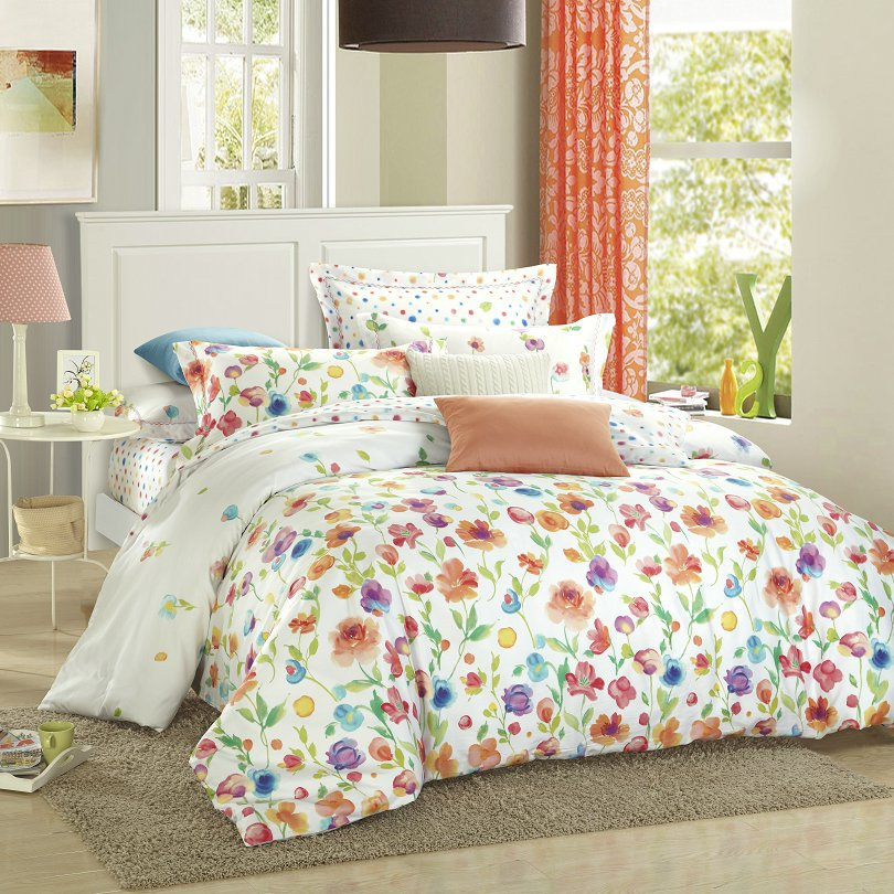 Buy summer style flower 4pc bedding set for Housse de couette king size