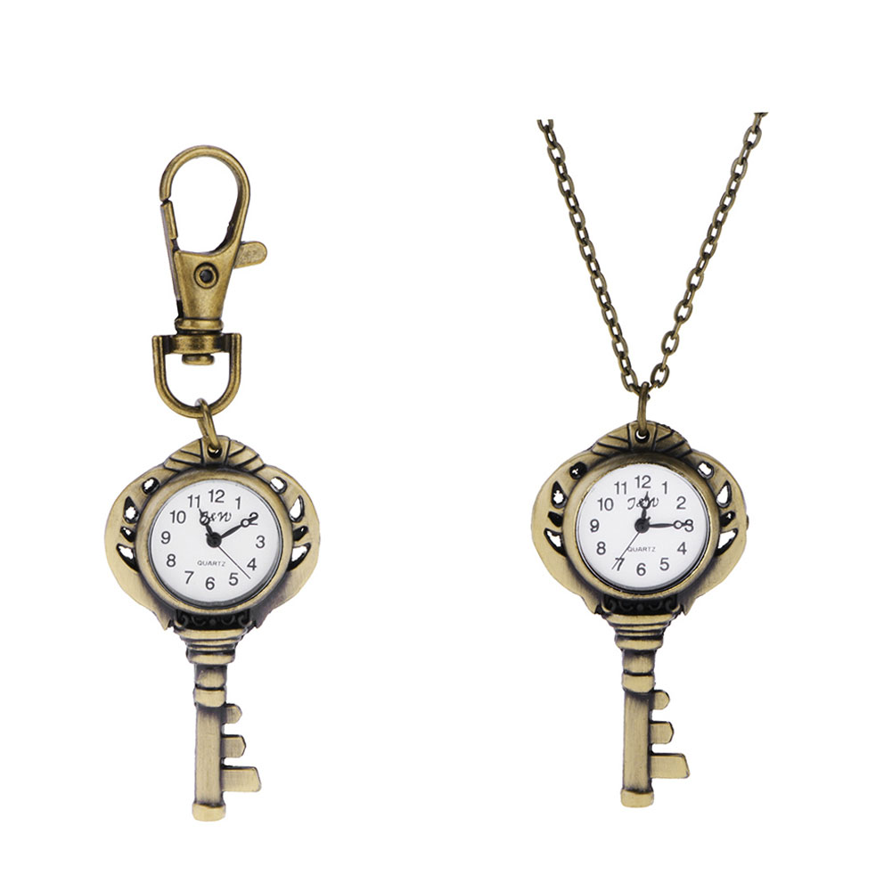 Bronze Lovely Vintage Key Design Quartz Watches Women Necklace Gift Vintage Pocket Watch Key Chains Key