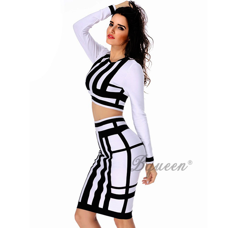 Bqueen 2016 New Arrival 2 Piece Sets Suits Black White Bandage Autumn Dress Long Sleeve Crop Top