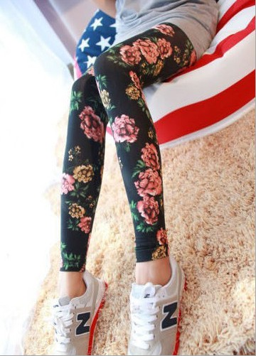 The New Spring And Summer 2016 Combed Cotton High Elastic Bigger Sizes Flower sSeries Of Nine Points Leggings Free ShoppingОдежда и ак�е��уары<br><br><br>Aliexpress