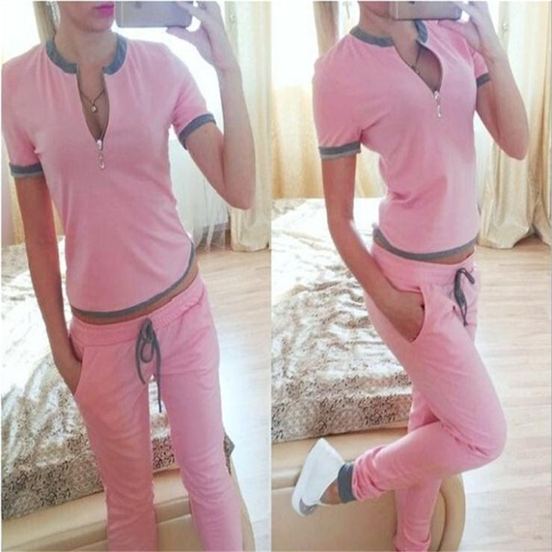 Hot Sell Women's track suit clothes 2016 summer new fashion cotton V-neck short-sleeved leisure suits(China (Mainland))