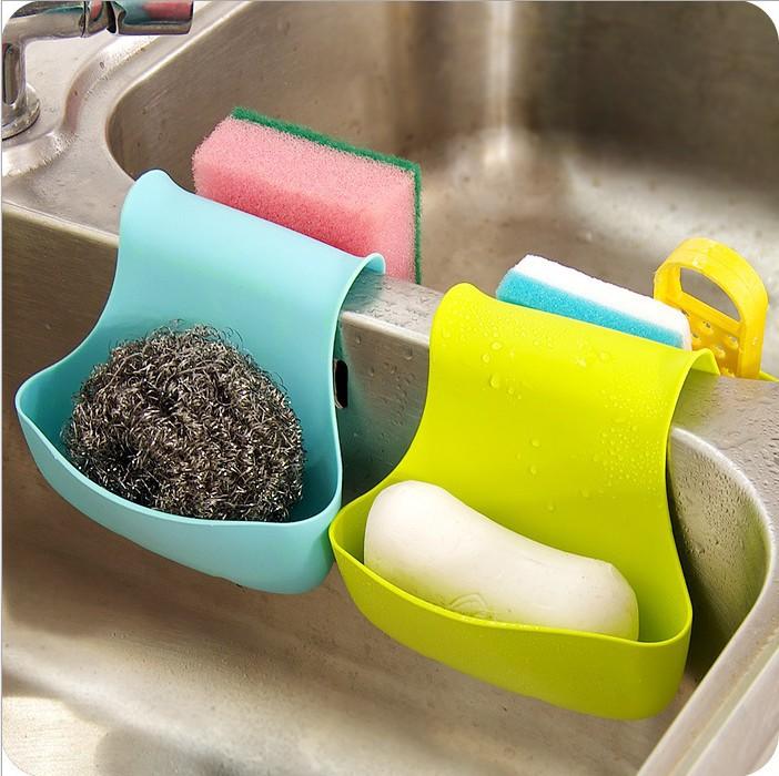 Kitchen Dish Cloth Sponge Holder Storage Pvc Mini Bathroom Self Hook Shelves Soap Holder(China (Mainland))