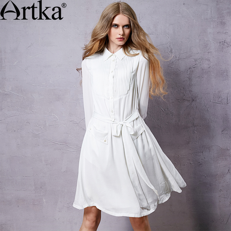 Artka Womens 2015 Autumn New Vintage Solid Color Elegant Dress Turn-Down Collar Chiffon One-piece Slim Dress LA10153QОдежда и ак�е��уары<br><br><br>Aliexpress