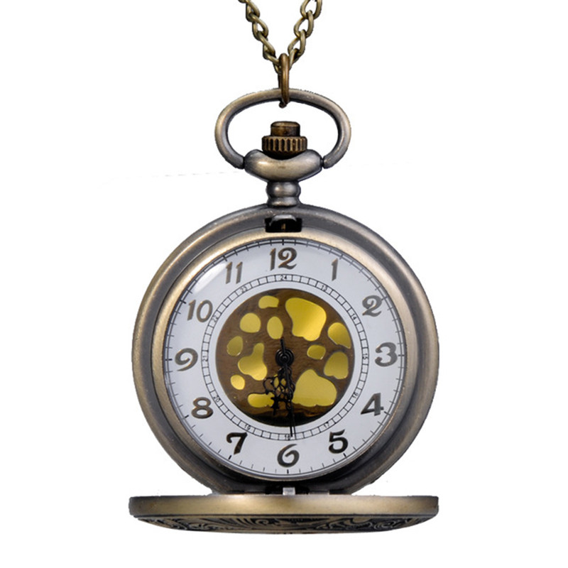Wholesale 2016 New Russian Bronze Vintage Big Round Golden Face Roman Fashion Quartz Pocket Watch Fob Watch Wrisr Gift Watches(China (Mainland))