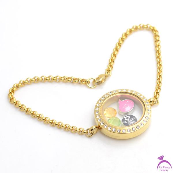 DIY 0.9mm wire 7''-8'' chain 25mm Gold Crystal 316L stainless steel living Screw glass floating locket bracelets B39(China (Mainland))