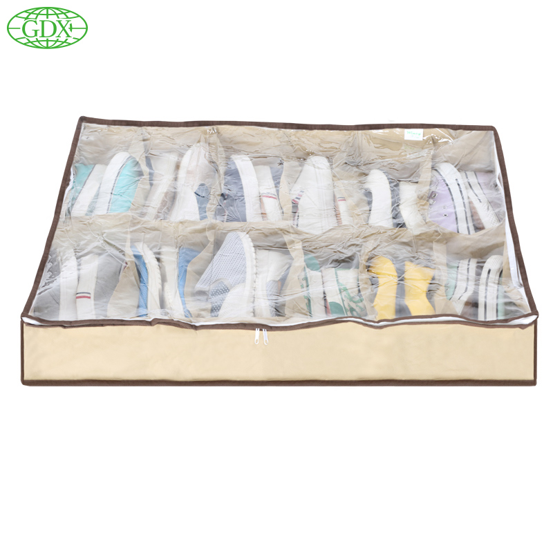 GDX 65L 1pc Shoe Organizadores Zapatos Storage Bags Boxes Washable Solid Organizer 12 Cube Closet 12 pairs Shoes Organizers Bins(China (Mainland))