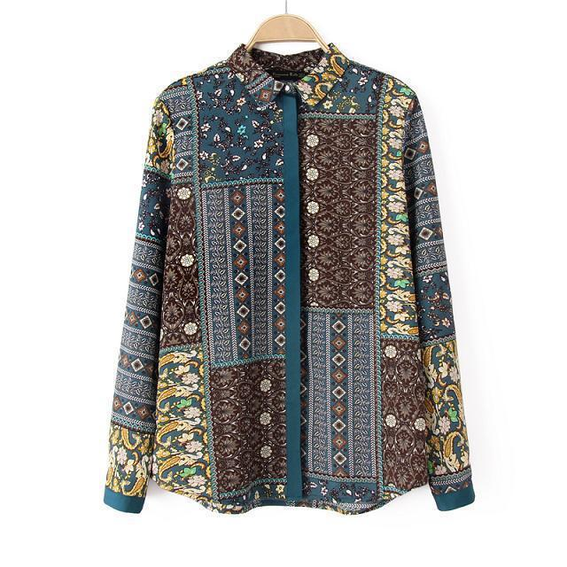 European Style Fashion Long Sleeve Shirt Women Tops Ethnic Vintage Shirt Female Women Shirts