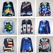 2015 New Arrival Half The New 3d Three-dimensional Autumn Flower Pattern Clothes Men And Women Living Starry Cosmos Hoodies Coat(China (Mainland))