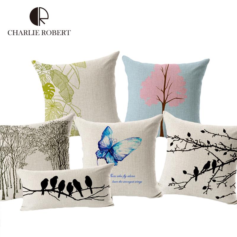 45*45CM Sofa Cushions Sets Decorative Home Throw Pillows Forest Tree Birds Cushions For Home Decor Pillowcase(China (Mainland))