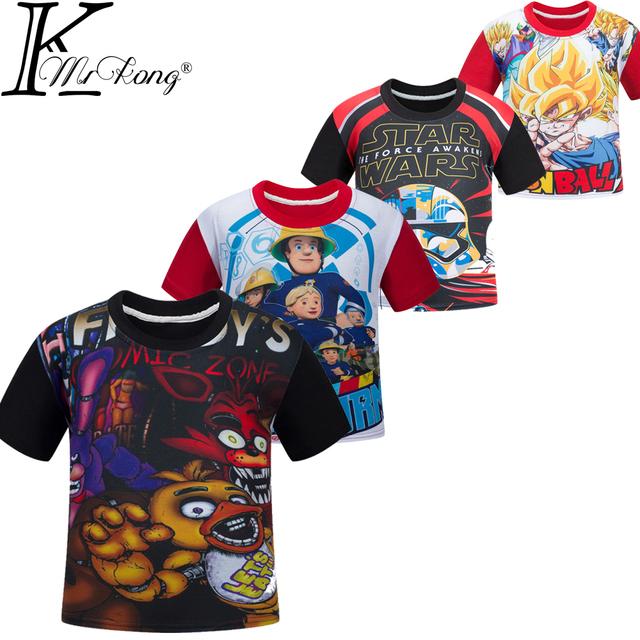 2016 Новый Пожарный Сэм мальчики футболка Пять Ночей В Фредди FNAF футболка дети ...