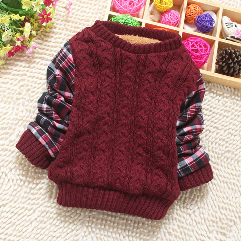 2015 Infant Baby Boys Thicken Sweater Childrens Kids Knitted Winter Warm Pullovers Fleece Fur Striped Outerwear Sweaters(China (Mainland))