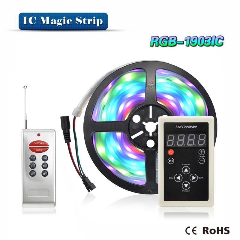DC12V 5m/roll 1903 IC 5050 SMD 30leds/m RGB LED pixels strip addressable Digital Light IP67 Waterproof + RF Remote Controller(China (Mainland))