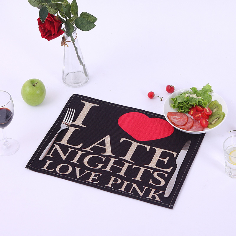 Black Letters Waterproof Cotton Linen Placemat Table Mat Fabric Western Pad Coasters Disc Pad Dining Table Decorative Mat ZCM072(China (Mainland))