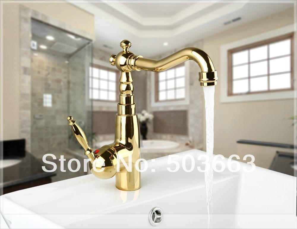 Newly Golden Kitchen Swivel Basin Sink Deck Mounted Single Hole Single Hole Faucet Tap MF-695 Mixer Tap Faucet pop square<br><br>Aliexpress