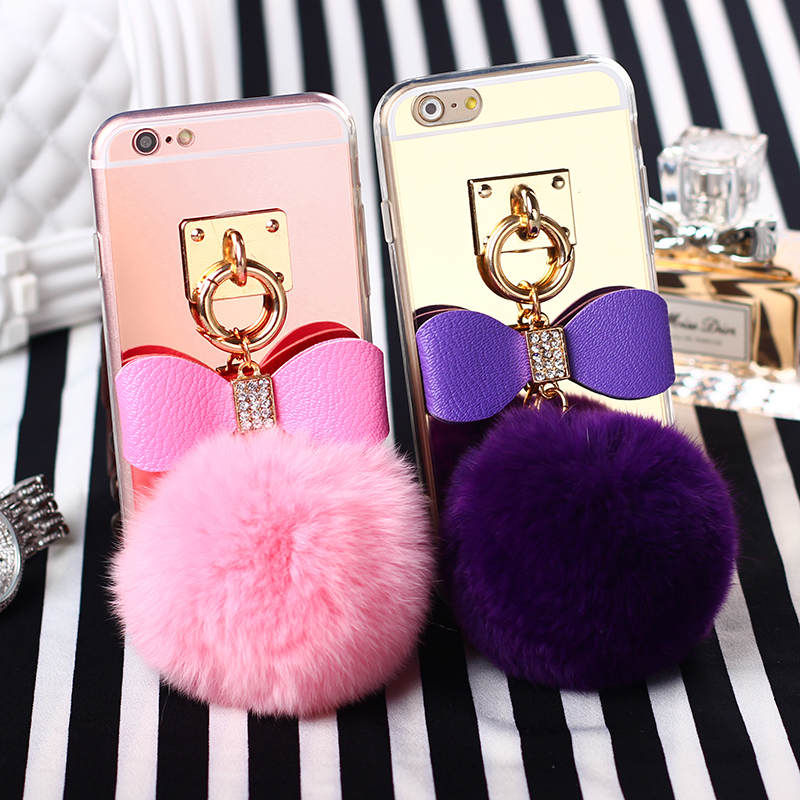 Luxury Real Fox Fur Ball Case For Iphone5 6/6plus Colorful Mirror Rabbit Fur Ball Soft TPU Back Cover Case For IPhone 6s/6splus(China (Mainland))