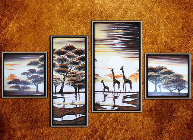 Free Shipping High Q. Oil Paintings Painted by hand Modern Africa Landscape Home improvement