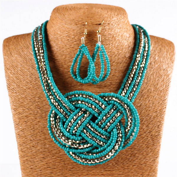 European Brand Vintage Handmade Necklaces Earrings Bohemian Jewellery Resin Statement Necklace Pendant African Beads Jewelry set(China (Mainland))