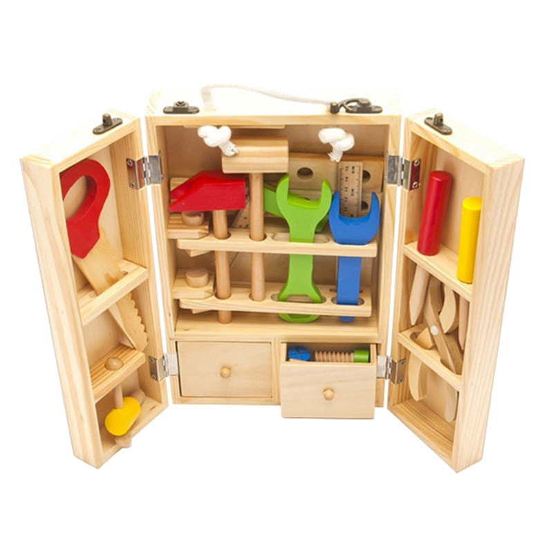 Mother Garden Kids Wooden Multifunctional Tool Set Maintenance Box Wooden Toy Baby Nut Combination Educational Toy<br><br>Aliexpress