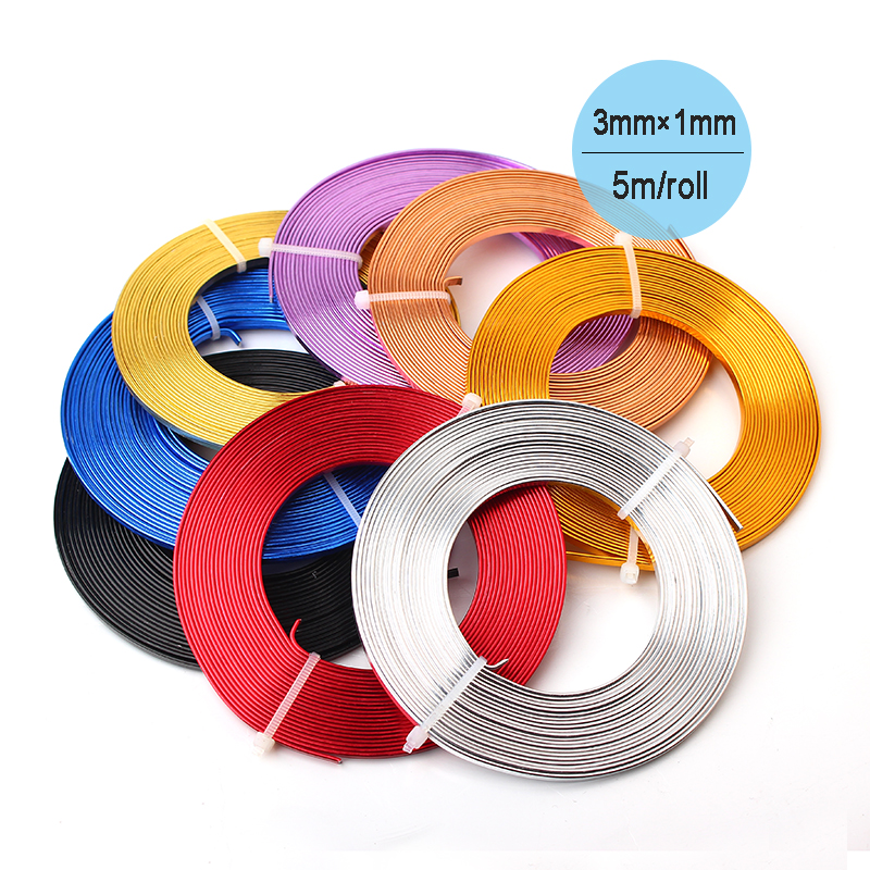 Flat Anodized Aluminum Wire Gold Silver Blue Red Black Purple Coffee Copper Plated Soft 3mmx1mm 5m/coil Craft Aluminium Wire(China (Mainland))