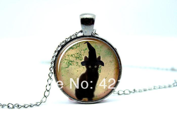 10pcs/lot Cat Necklace, Cute Halloween Jewelry, Black Kitty Pendant Glass Cabochon Necklace 3092(China (Mainland))