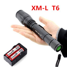 2000 lumen 5-Mode CREE XM-L T6 LED Zoomable Focus Flashlight Torch+2x5800mAh 18650 Battery+EU/US Charger(China (Mainland))