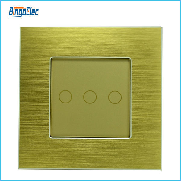 3gang1way golden aluminum and glass panel touch electric light switch, EU/UK standard AC110-250V,CE marks,Free shipping(China (Mainland))