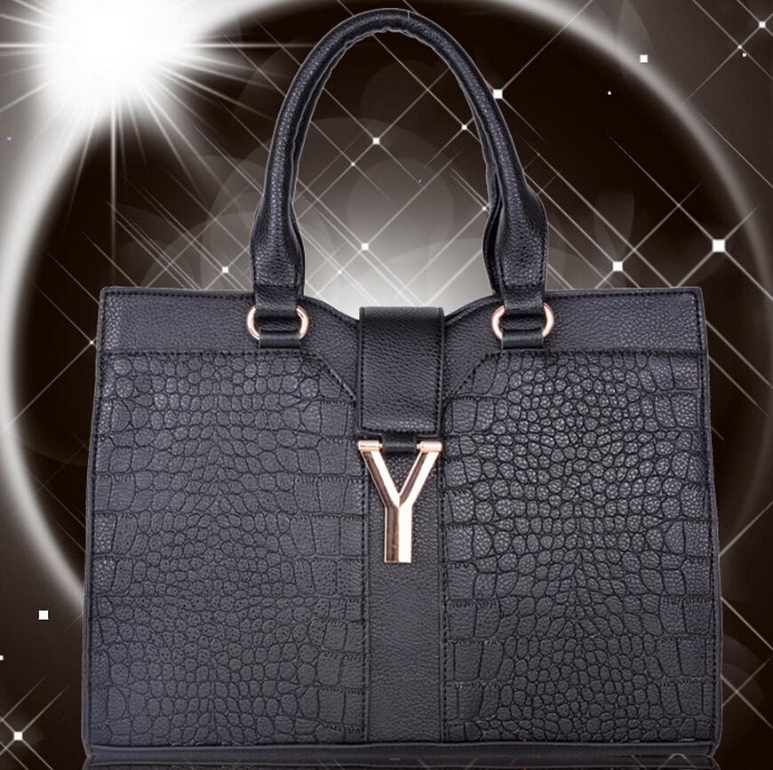 ysl patent leather tote - grain 5/6 croc-stamped flap clutch bag, black